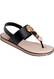 Sandália Modare Preta Com Enfeite