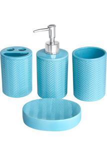 Conjunto De Acessórios Para Banheiro Azul Com 4 Peças