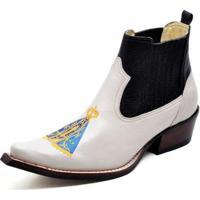 57d10c496e70b Bota Country Top Franca Shoes Bico Fino Verniz Masculino - Masculino -Branco+Preto