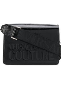 Versace Jeans Couture Bolsa Transversal Preta Com Estampa De Logo - Preto