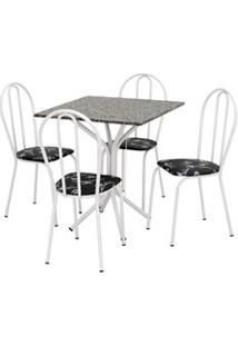 Jogo De Mesa E 04 Cadeiras Thais Com Tampo Granito Branca/Assento Pret