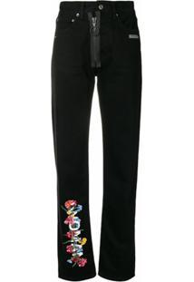 Off-White Calça Jeans Cintura Alta - Preto