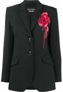 Boutique Moschino Blazer Com Estampa De Rosas - Preto