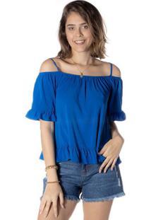 Blusa Lisa Com Recorte - Azuldwz
