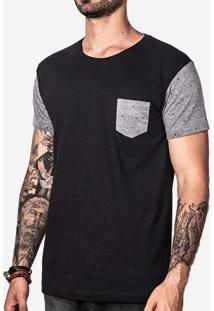 Camiseta Manga Eco Preto Estampada 100965