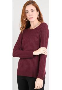 Suéter Feminino Em Tricô Decote Redondo Vinho