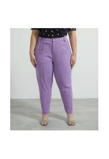 Calça Cargo Em Sarja Com Barra Dobradinha Curve & Plus Size | Ashua Curve E Plus Size | Roxo | 46