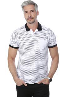 Camisa Polo Javali Bolso Poá Branca