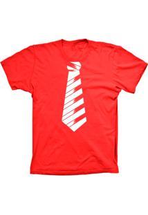 Camiseta Lu Geek Manga Curta Gravata Social Vermelho
