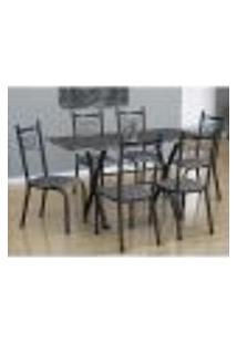 Conjunto De Mesa Miami Com 6 Cadeiras Lisboa Preto E Listrado