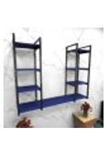 Estante Estilo Industrial Sala Aço Cor Preto 120X30X98Cm (C)X(L)X(A) Cor Mdf Azul Modelo Ind54Azsl