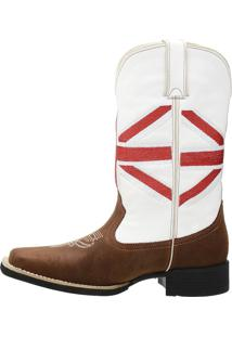 Bota Country Masculina Branca Com Vermelha Sw Shoes