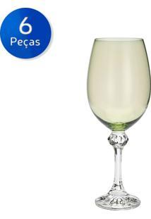 Jogo De Taças Para Vinho 6 Peças 450Ml Elisa Kale - Bohemia - Verde