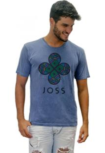 Camiseta Joss Estonada Flor Colorida Azul Marinho