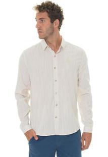 Camisa Timberland Linen Fesh Masculina - Masculino-Bege