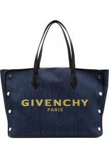 Givenchy Bolsa Tote Jeans Com Logo - Azul