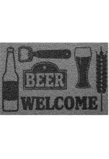 """Capacho """"Beer""""- Cinza Escuro & Cinza- 60X40Cm- Kkapazi"""