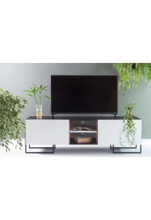Rack Para Tv Preto Estilo Industrial Pés De Metal E 2 Portas Brancas Crosby 163X43,6X48,5 Cm