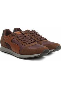 Tênis Couro Shoestock Jogging Recortes Masculino - Masculino-Caramelo