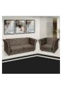Sofá + Poltrona Decorativa Chesterfield Capitone Art Estofados Portinari Sued Marrom