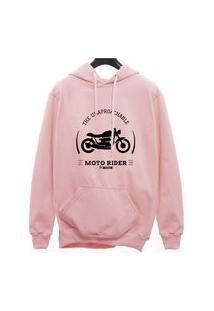 Blusa Moletom Canguru Moto Rider - Rosa