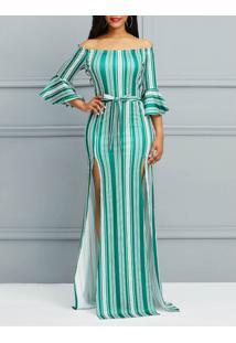 Vestido Longo Elegante Listrado Com Fenda Manga Sino - Verde M