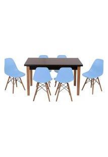Conjunto Mesa De Jantar Luiza 135Cm Preta Com 6 Cadeiras Eames Eiffel - Azul Claro