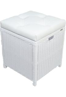 Cesto Puff Baú Organizador Roupa Fibra Sintetica 40X40X48 - Branco