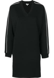 Kenzo Vestido De Moletom Com Logo Estampado - Preto