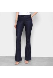 Calça Jeans Flare Biotipo Lisa Cintura Média Feminina - Feminino