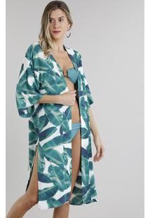 Kimono Saída De Praia Estampado De Folhas Com Fenda Manga Curta Branco - Único