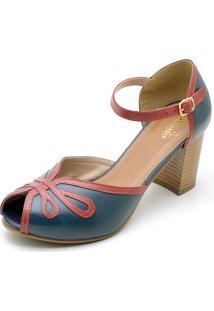 Sandália Em Couro Sapatofran Retro Vintage Azul Marinho - Tricae