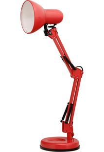 Luminária De Mesa S Articulável Vermelha