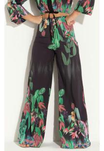 Calça Pantalona Floral Com Zíper