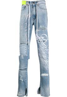 Off-White Calça Jeans Com Detalhes Desfiados - Azul