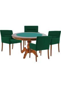 Mesa De Jogos Carteado Redonda Montreal Tampo Reversível Amêndoa Com 4 Cadeiras Vicenza Verde - Gran Belo