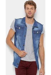 Colete Jeans Copen Estonado Bolsos Masculino - Masculino-Azul