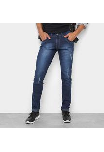 Calça Jeans Skinny Coffee Estonada Puídos Masculina - Masculino-Jeans
