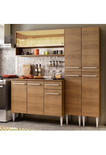 Cozinha Compacta Madesa Emilly Winter Com Armário Vidro Reflex E Balcão Marrom