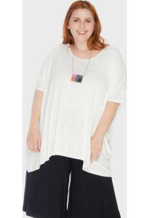 Blusa Ampla Tecido Ultra Leve Plus Size Off White