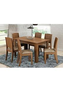 Mesa Para Sala De Jantar Com 6 Cadeiras Bárbara Savana/Café - Cimol Móveis
