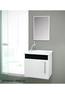 Gabinete Para Benheiro Kit Soft Susp. - Balcão + Espelheira + Marmorite - Branco Preto