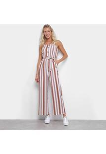 Macacão Lily Fashion Listrado Amarração Feminino - Feminino-Marrom