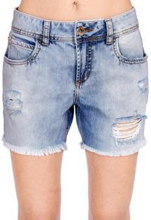 Bermuda Jeans Destroyed Colcci - Feminino-Azul Claro