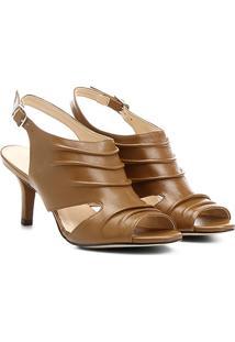 Sandália Couro Salto Fino Shoestock Vazada Feminina - Feminino-Caramelo