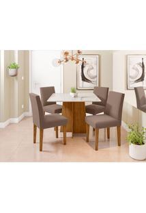 Conjunto De Mesa De Jantar Com Tampo De Vidro Marina E 4 Cadeiras Giovana Veludo Off White E Marrom
