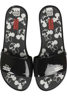 Chinelo Slide Feminino Zaxy Joy Mickey Preto