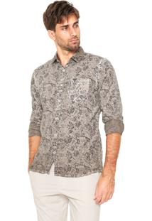Camisa Polo Wear Floral Bege