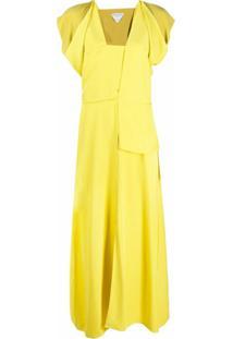 Bottega Veneta Vestido Com Decote Quadrado E Recortes - Amarelo