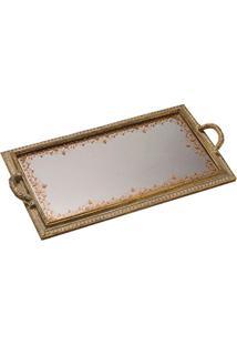 Bandeja Resina Dourada Com Espelho 51X27X4 Cms